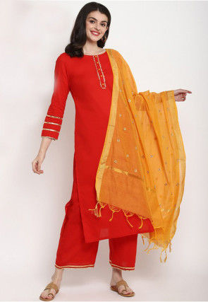 Gota Lace Cotton Pakistani Suit in Red