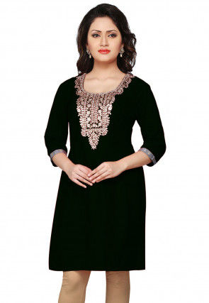 Gota Patti Art Silk Kurti in Black