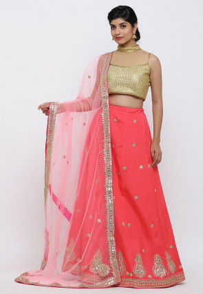 Gota Patti Art Silk Lehenga in Coral Pink