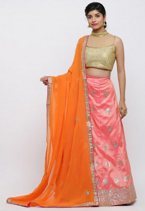 Gota Patti Art Silk Lehenga in Peach