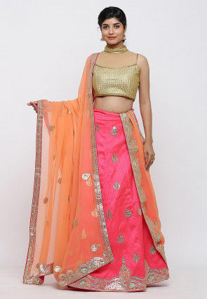 Gota Patti Art Silk Lehenga in Pink
