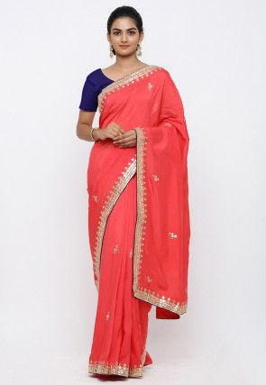 Gota Patti Art Silk Saree in Coral Red