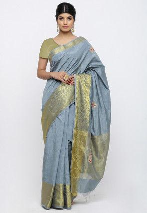 Gota Patti Art Silk Saree in Grey