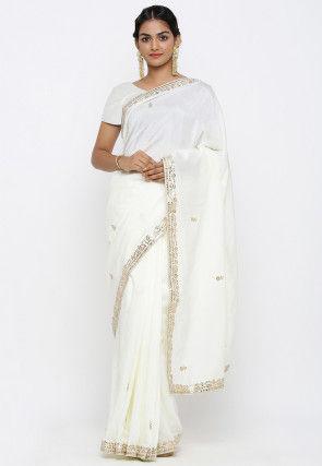 Gota Patti Art Silk Saree in Off White
