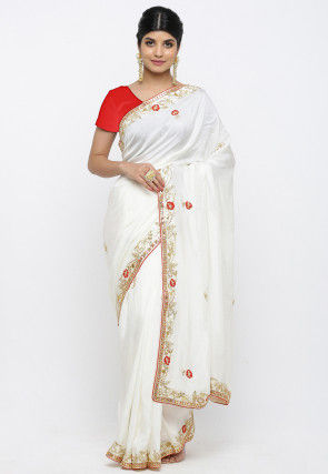 Gota Patti Art Silk Saree in White