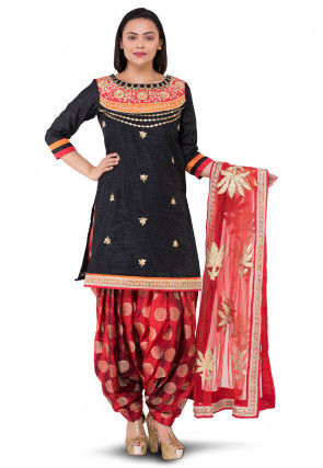 Gota Patti Bhagalpuri Silk Punjabi Suit in Black