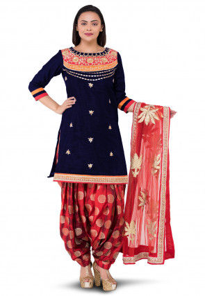 Gota Patti Bhagalpuri Silk Punjabi Suit in Blue