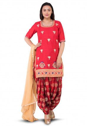 Gota Patti Bhagalpuri Silk Punjabi Suit in Red