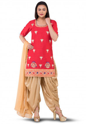 Gota Patti Bhagalpuri Silk Punjabi Suit in Red