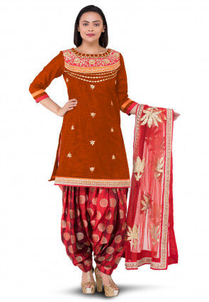 Gota Patti Bhagalpuri Silk Punjabi Suit in Rust
