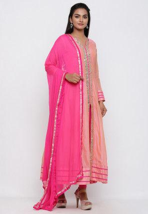Gota Patti Chanderi Cotton Abaya Style Suit in Peach