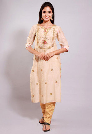 Gota Patti Chanderi Cotton Straight Kurta Set in Beige