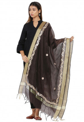 Gota Patti Chanderi Silk Dupatta in Brown