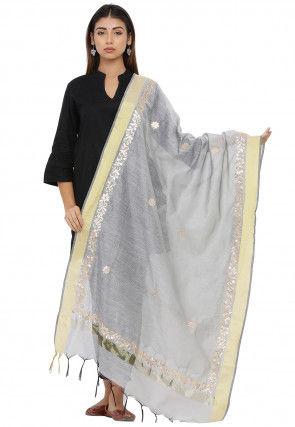 Gota Patti Chanderi Silk Dupatta in Light Grey