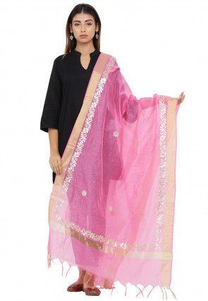 Gota Patti Chanderi Silk Dupatta in Pink