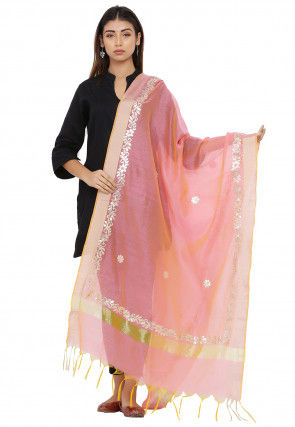 Gota Patti Chanderi Silk Dupatta in Pink