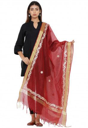 Gota Patti Chanderi Silk Dupatta in Red