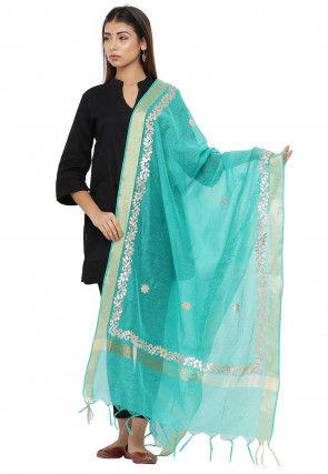 Gota Patti Chanderi Silk Dupatta in Turquoise