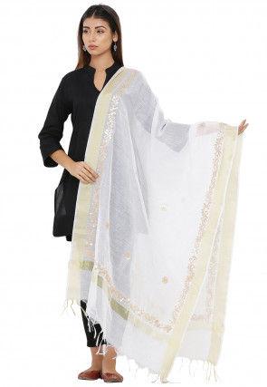 Gota Patti Chanderi Silk Dupatta in White