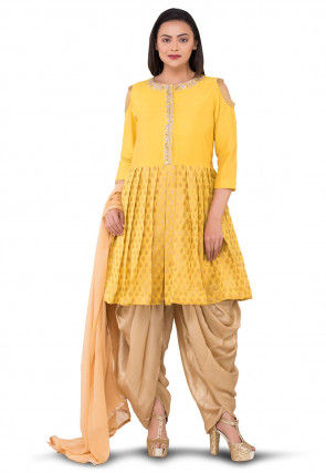 Gota Patti Chanderi Silk Jacquard Punjabi Suit in Yellow