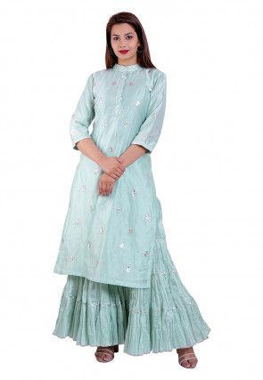 Gota Patti Chanderi Silk Straight Kurta Set in Sky Blue