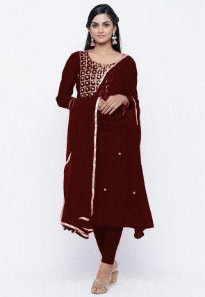 Gota Patti Chanderi Silk Straight Suit in Dark Maroon