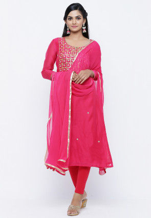 Gota Patti Chanderi Silk Straight Suit in Fuchsia
