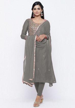 Gota Patti Chanderi Silk Straight Suit in Grey