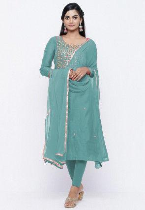 Gota Patti Chanderi Silk Straight Suit in Pastel Blue