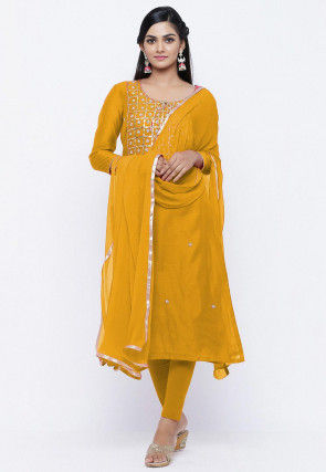 Gota Patti Chanderi Silk Straight Suit in Yellow