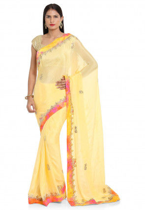Gota Patti Chinon Chiffon Saree in Light Yellow