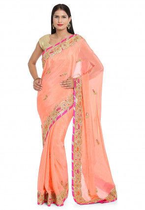 Gota Patti Chinon Chiffon Saree in Peach