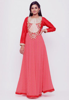 Gota Patti Chinon Crepe Gown in Peach and Red