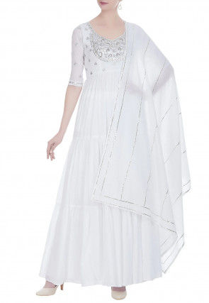 Gota Patti Cotton Abaya Style Suit in White