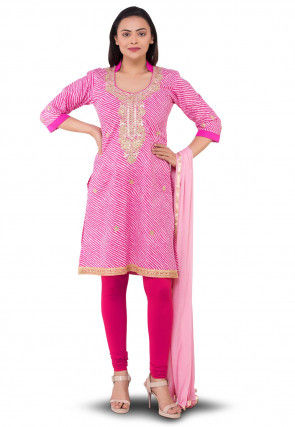 Gota Patti Cotton Straight Suit in Pink