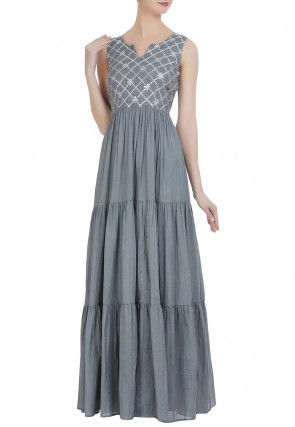 Gota Patti Cotton Tiered Gown in Grey