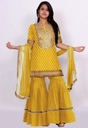 Gota Patti Crepe Pakistani Suit in Yellow