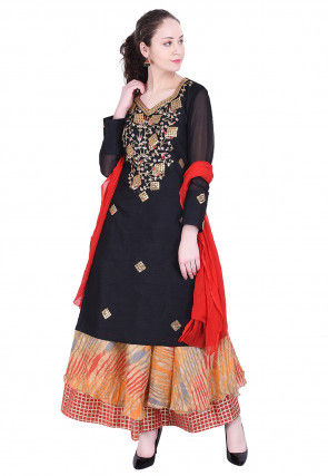 Gota Patti Dupion Silk Lehenga in Black