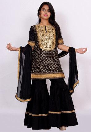 Gota Patti Dupion Silk Pakistani Suit in Black