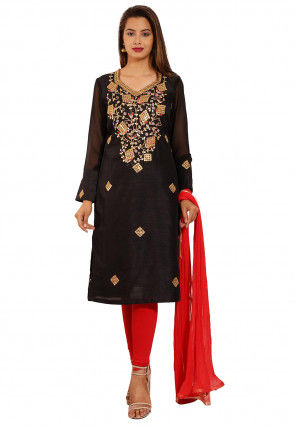 Gota Patti Dupion Silk Straight Suit in Black