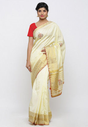 Gota Patti Embroidered Art Silk Saree in Light Yellow
