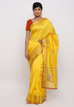 Gota Patti Embroidered Art Silk Saree in Yellow