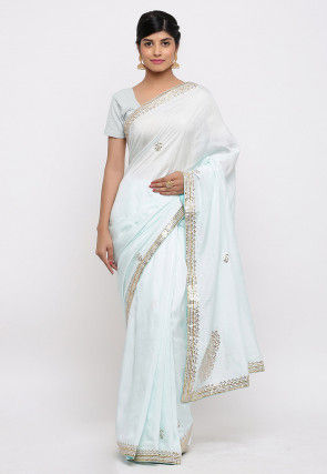 Gota Patti Embroidered Raw Silk Saree in Light Sky Blue