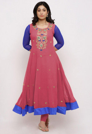 Gota Patti Georgette Anarkali Kurta in Dusty Pink and Royal Blue