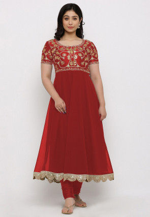 Gota Patti Georgette Anarkali Kurta in Red