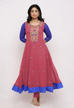 Gota Patti Georgette Anarkali Kurta Set in Dusty Pink and Royal Blue