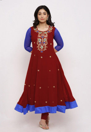 Gota Patti Georgette Anarkali Kurta Set in Maroon and Royal Blue