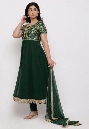 Gota Patti Georgette Anarkali Suit in Dark Green
