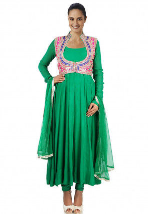Gota Patti Georgette Anarkali Suit in Green