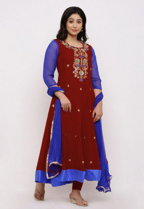 Gota Patti Georgette Anarkali Suit in Maroon and Royal Blue